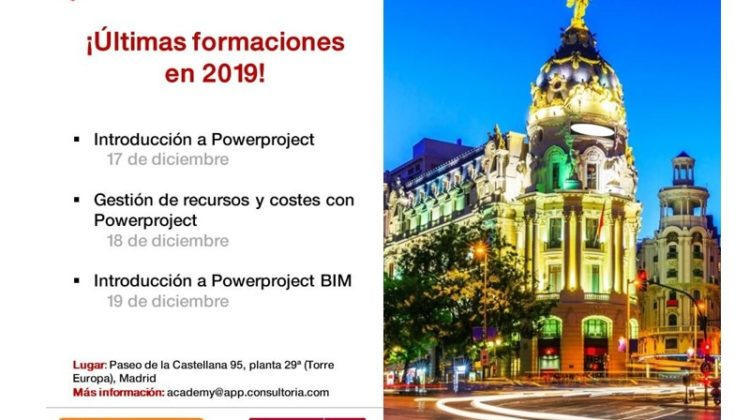Los días 17, 18 y 19 de diciembre tendrán lugar formaciones especializadas en planificación de proyectos con Powerproject, gestión de costes y recursos y planificación 4D BIM.