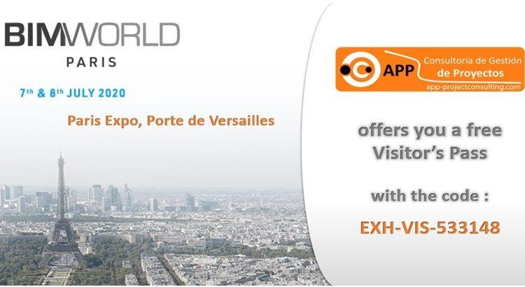 Nos complace anunciar nuestra participación en la exposición BIM World Paris que tendrá lugar los días 7 y 8 de julio de 2020.