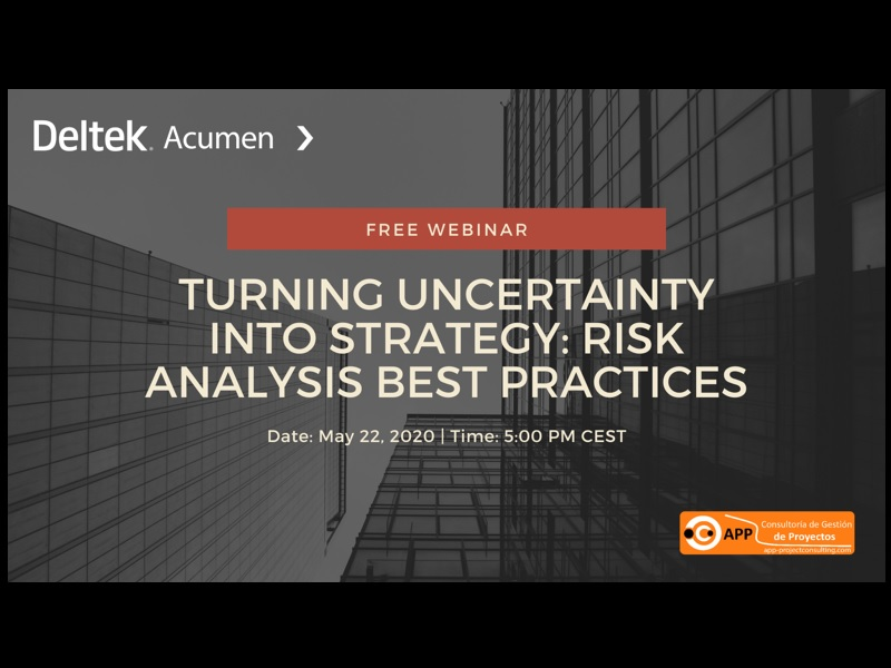 Join this Free Webinar provided by Deltek in May 22 2020 17:00 - 18:00 (CEST) to see how you can turn uncertainty into strategy with risk analysis best practices!