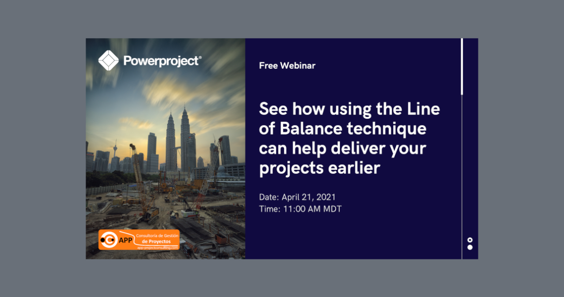 During the webinar you will discover benefits of the Line of Balance scheduling technique which can help you deliver projects earlier.